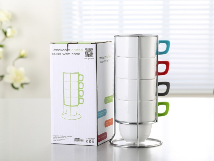 Stackable ceramic mugs with rubber coated handles – B107012-PQ