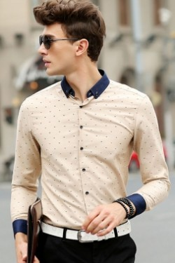 Beige Tiny Multicolor Fishbone Street Fashion Shirt