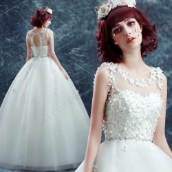 A-Line/Princess Flower Sweet Scoop Neck Floor-Length Open Back Wedding Dress 2016 New – Ch ...
