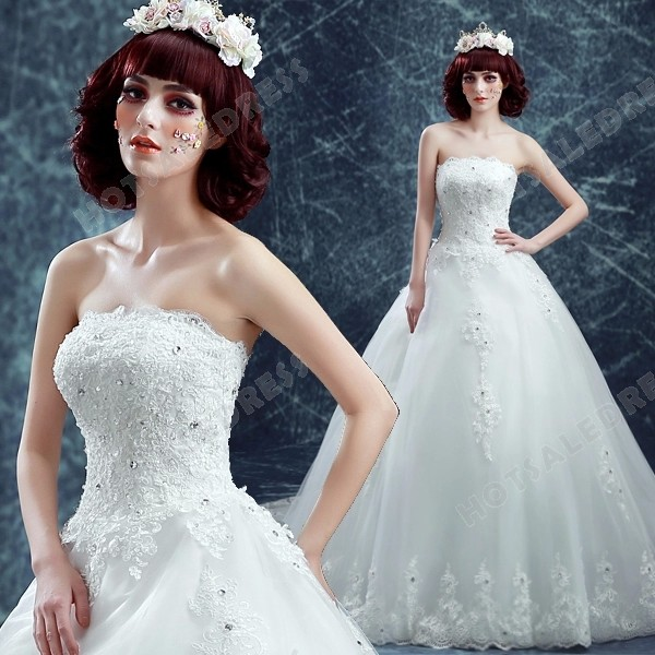 Giant Ball Gown Wedding Dress: Ball Gown French Lace Diamond Strapless Big Train Wedding
