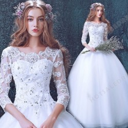 Luxury Lace Long-sleeved Scoop Neck Sweetheart Floor-Length Wedding Dress 2016 New – Weddi ...