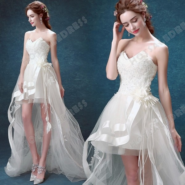 2016 New Sexy Strapless Sweetheart High Low Lace trailing Bride Wedding Dress – Wedding Dr ...