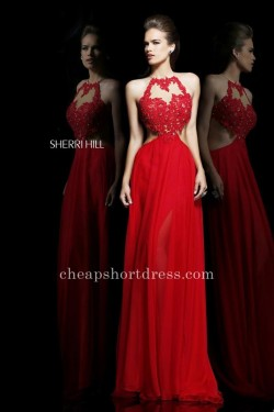Cut-out Red Lace Beaded Sherri Hill 21309 Long Prom Dresses [Sherri Hill 21309] – $225.00  ...