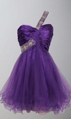 Purple Sequin One Shoulder Short Graduation Dresses KSP406 – £87.00