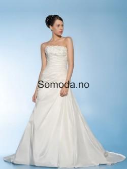 Somoda.no – A-Linje Applikasjoner Kapell tog Sateng Stroppeløs Utringing Brudekjoler Elegante