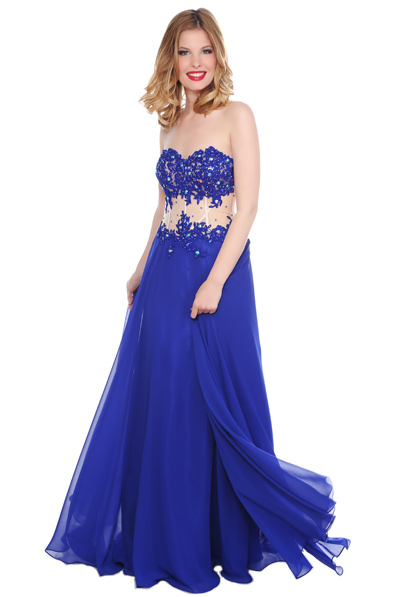 US$167.99 2016 Appliques Chiffon Floor Length Sweetheart Blue Ruched A-line Sleeveless