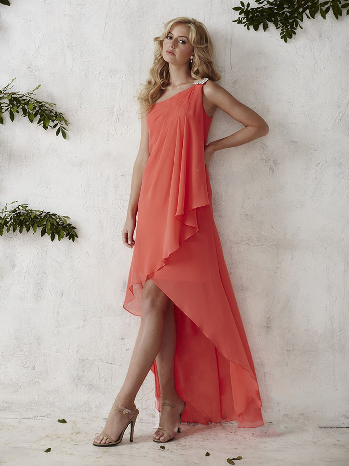 US$139.99 2016 Zipper One Shoulder High Low Chiffon A-line Sleeveless Ruched