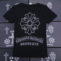 Rhinestone Big Signature Cross Black Cotton Chrome Hearts T Shirt [Chrome Hearts T Shirt] – ...