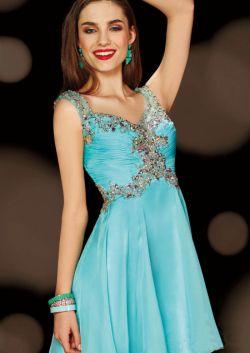 US$161.99 2015 Blue Sleeveless Straps Zipper Crystals Chiffon Short