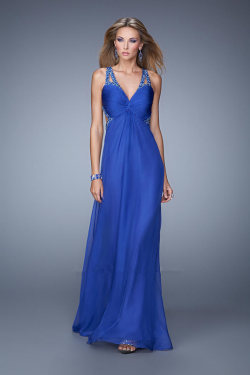 US$154.99 2015 Criss Cross Straps Blue Ruched Floor Length Red Sleeveless Chiffon