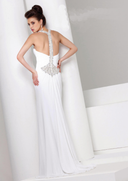 US$171.99 2015 Halter Open Back White Blue Crystals Chiffon Floor Length
