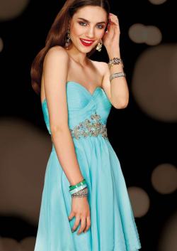 US$158.99 2015 Open Back Sleeveless Blue Sweetheart Crystals Chiffon Short
