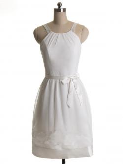 US$157.99 2015 Straps White Bowknot Chiffon Sleeveless Zipper Ruched Short Length