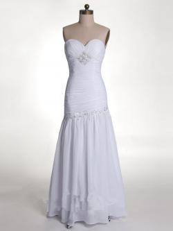 US$171.99 2015 Zipper Chiffon White Sleeveless Sweetheart Sheath Floor Length