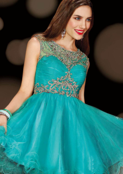 US$160.99 2015 Zipper Scoop Blue Ruched Crystals Tulle Short