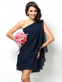 A-Line/Princess One-Shoulder Sleeveless Short/Mini Chiffon Bridesmaid Dresses – Wedding Gu ...