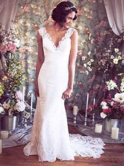 deep v-neck lace low back court train wedding dress with straps