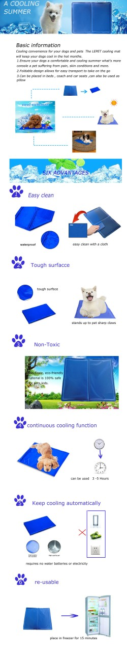 manufacturer wholesale re-usable gel+sponge dog cooling mat cool gel pad