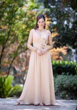 US$165.99 2015 Flowers Ruched Sleeveless Chiffon V-neck Floor Length