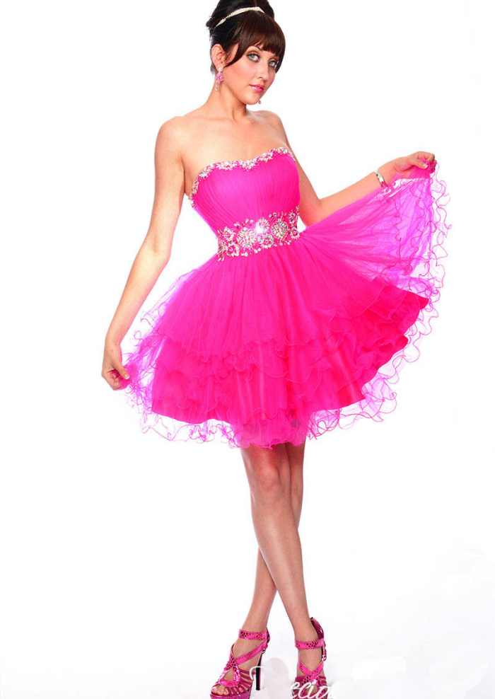US$159.99 2015 Lace Up Strapless Tulle Crystals Fuchsia Blue Ruched Short