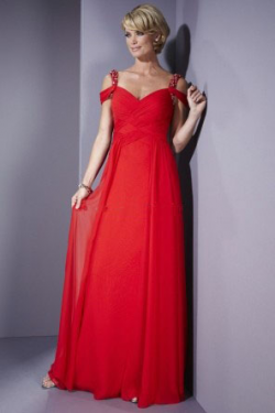 US$159.99 2015 Red Straps Sleeveless V-back Shawl Chiffon Floor Length