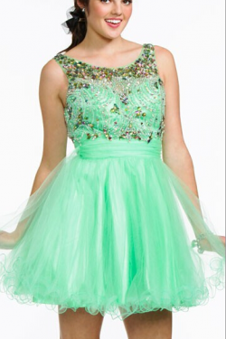 US$143.99 2016 Ruched Short Length Tulle Crystals Scoop Pink V-back Sleeveless Green