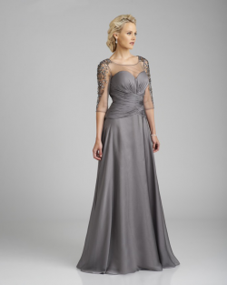 US$164.99 2015 Scoop Zipper Grey Chiffon Tulle 3/4 Length Sleeves Crystals Floor Length