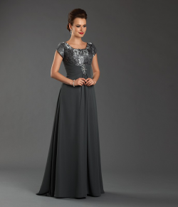US$145.99 2015 Square Zipper Chiffon Short Sleeves Grey Floor Length