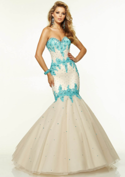US$181.99 2015 White Lace Up Sleeveless Appliques Beading Tulle Floor Length Mermaid