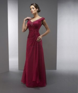US$153.99 2015 Zipper Cap Sleeves V-neck V-back Chiffon Burgundy Floor Length