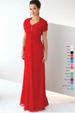 US$158.99 2015 Zipper Chiffon Red Short Sleeves Floor Length