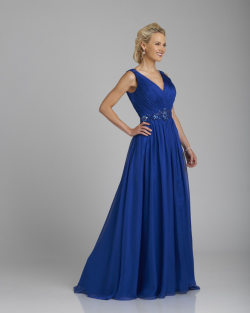 US$158.99 2015 Zipper V-neck V-back Chiffon Blue Sleeveless Ruched Floor Length
