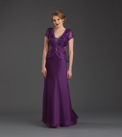 US$158.99 2015 Zipper V-neck V-back Chiffon Purple Red Short Sleeves Beading Floor Length