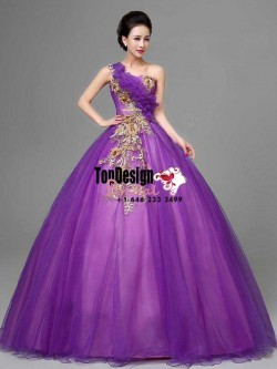 2017 New Applique Sweet 15 Ball Gown One-Shoulder Purple Satin Tulle Prom Dress Gown Vestidos De ...