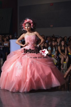 2017 New Applique Sweet 15 Dress Watermelone Vestidos De Fiesta Taffeta Tulle Flower Quinceanera ...