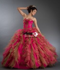 2017 New Beaded Embroidery Flower Sweet 15 Ball Gown Fuchsia and Gold Satin Tulle Prom Dress Gow ...