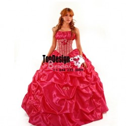 2017 new beaded hand-made flower pick up hot pink puffy corset sweet 15 quinceanera dress
