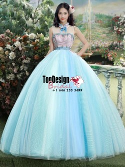 2017 New Beaded High Neck Sweet 15 Ball Gown Blue Satin Tulle Prom Dress Gown Vestidos De 15 Anos