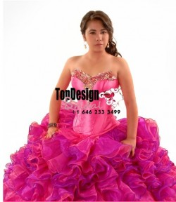 2017 new beaded hot pink and fuchsia organza ruffles puffy corset sweet 15 quinceanera dress