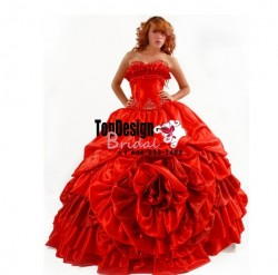 2017 new beaded red pick up taffeta corset sweet 15 quinceanera dress