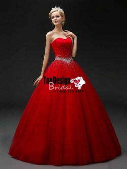 2017 New Beaded Sweet 15 Ball Gown Red Satin Tulle Prom Dress Gown Vestidos De 15 Anos
