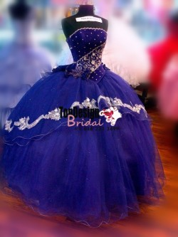 2017 New Beaded Sweet 15 Dress Two Tones vestidos de fiesta Royal Blue Quinceanera Ball Gown