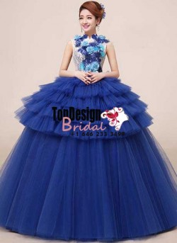 2017 New Flower Sweet 15 Ball Gown Navy Blue High-Neck Satin Tulle Prom Dress Gown Vestidos De 1 ...