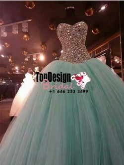 2017 New Fully Beaded Rhinestones Sweet 15 Dress Mint Vestidos De Fiesta Taffeta Tulle Quinceane ...