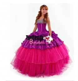 2017 new purple and fuchsia tulle taffeta beaded puffy sweet 15 quinceanera dress