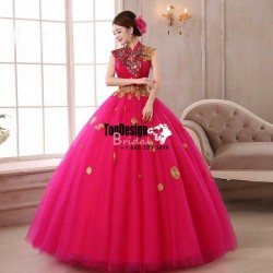 2017 New Sweet 15 Ball Gown Fuchsia Satin Tulle Prom Dress Gown Vestidos De 15 Anos