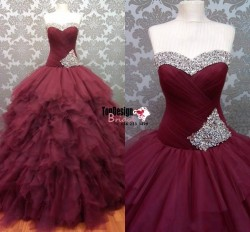Wholesale 2017 Sweet 15 Dress Burgundy Ball Gown Celebrity Pageant Quinceanera Dress Prom Formal ...