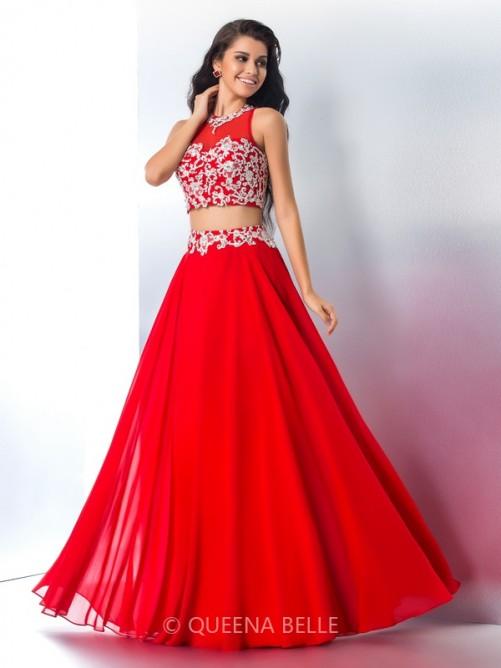A-Line/Princess Sheer Neck Sleeveless Applique Chiffon Floor-Length Two Piece Dresses – Pr ...