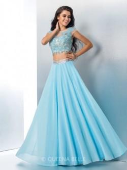 A-Line/Princess Short Sleeves Sheer Neck Applique Chiffon Floor-Length Two Piece Dresses – ...