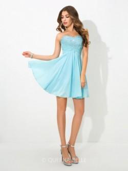 A-Line/Princess Sweetheart Sleeveless Short/Mini Beading Chiffon Cocktail Dresses – Short  ...